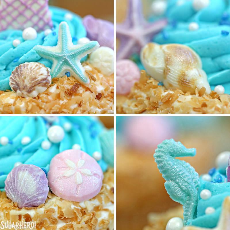 Close-up of chocolate seashell details on Mermaid Cupcakes   From SugarHero.com