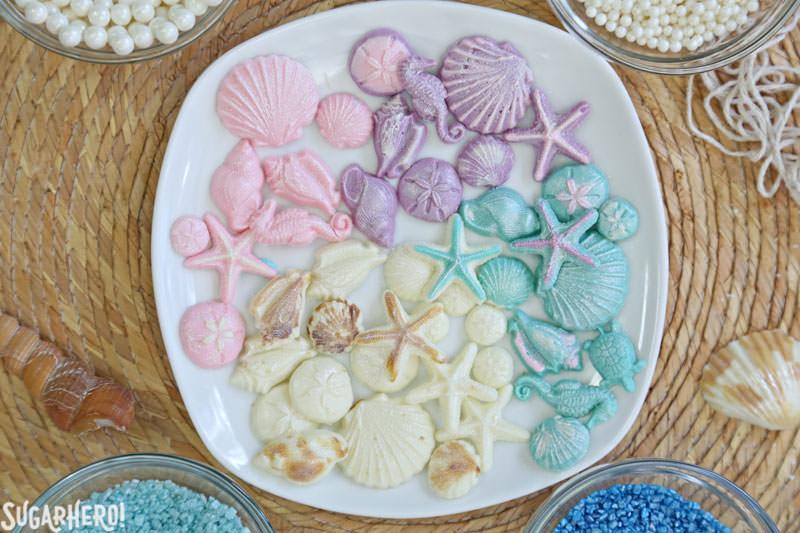 Chocolate seashells for mermaid cupcakes   From SugarHero.com