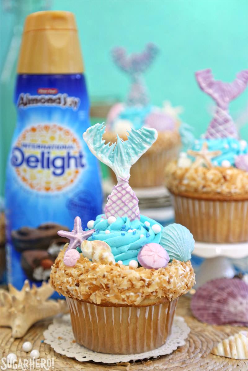 Mermaid Cupcakes - under-the-sea cupcakes with International Delight coffee creamer   From SugarHero.com