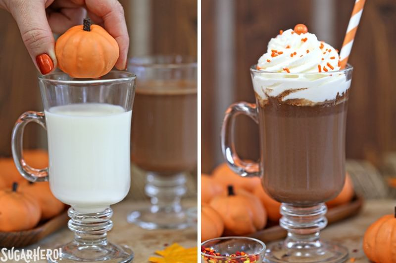 Pumpkin Spice Hot Chocolate Truffles - adding a pumpkin truffle to a mug of hot milk to make pumpkin spice hot chocolate | From SugarHero.com
