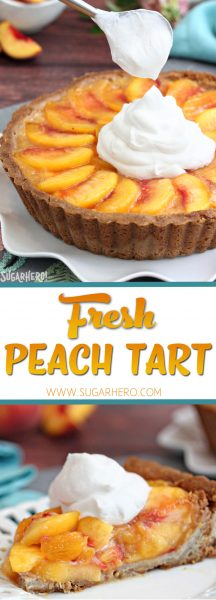 Fresh Peach Tart - the BEST way to enjoy peaches! Featuring juicy ripe peaches in a buttery tart shell | From SugarHero.com