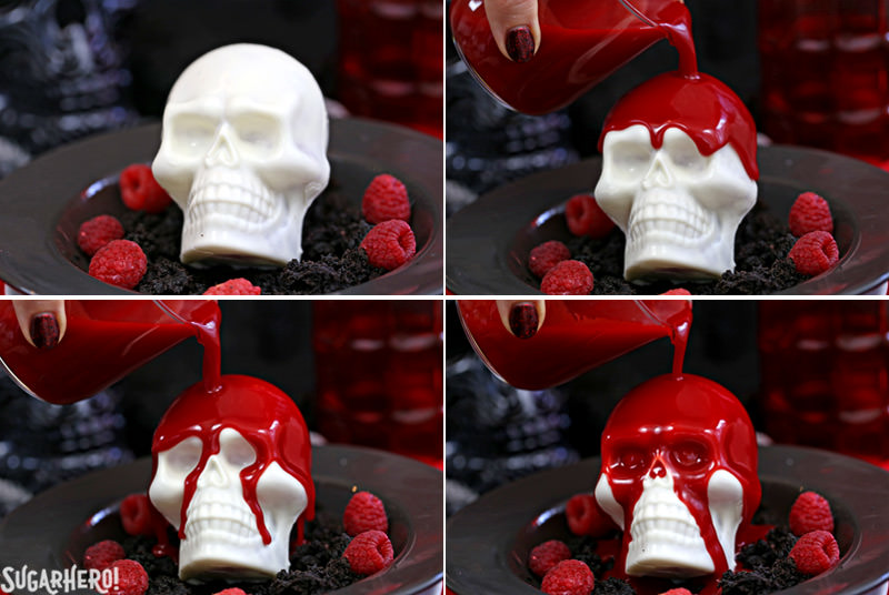 Melting Chocolate Skulls – four-part picture showing the stages of pouring warm red ganache on top of the white chocolate skulls | From SugarHero.com