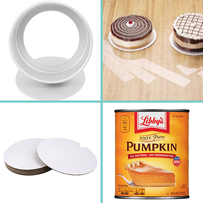 Pumpkin Chocolate Mousse Cake supplies - A collage showing some of the baking tools used. | From SugarHero.com