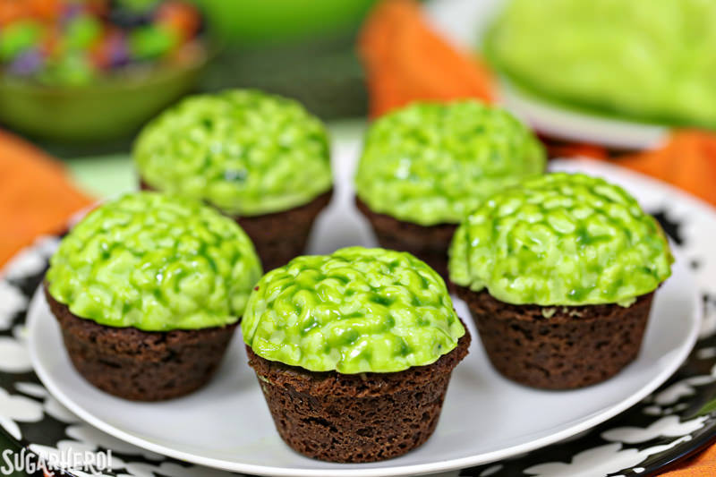 Zombie Brain Brownie Bites - displayed on a plate | From SugarHero.com
