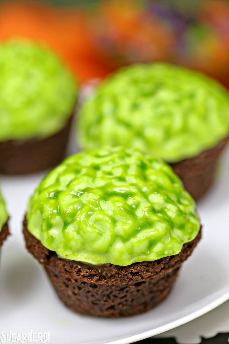 Close-up of Zombie Brain Brownie Bites | From SugarHero.com