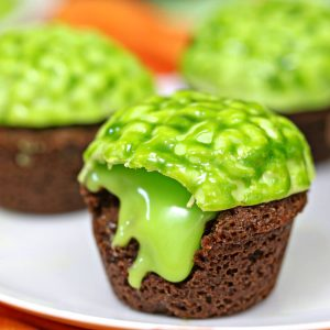 Zombie Brain Brownie Bites | From SugarHero.com