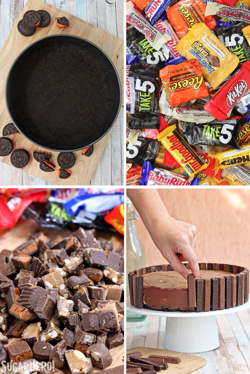 Candy Bar Cheesecake – collage image of Oreo cookie crust, candy wrappers, chopped candy bars, and applying Kit Kats around the outside of the cake | From SugarHero.com