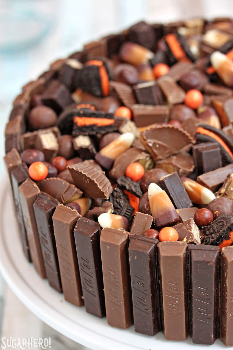 Candy Bar Cheesecake – close-up of the candy on top of the cheesecake | From SugarHero.com
