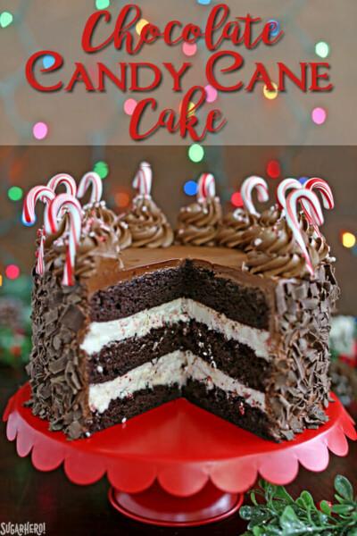 Chocolate Candy Cane Cake | From SugarHero.com
