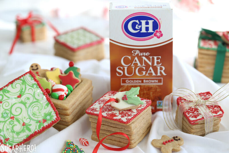 Christmas Present Cookie Boxes - picture of boxes with C&H sugar in background | From SugarHero.com
