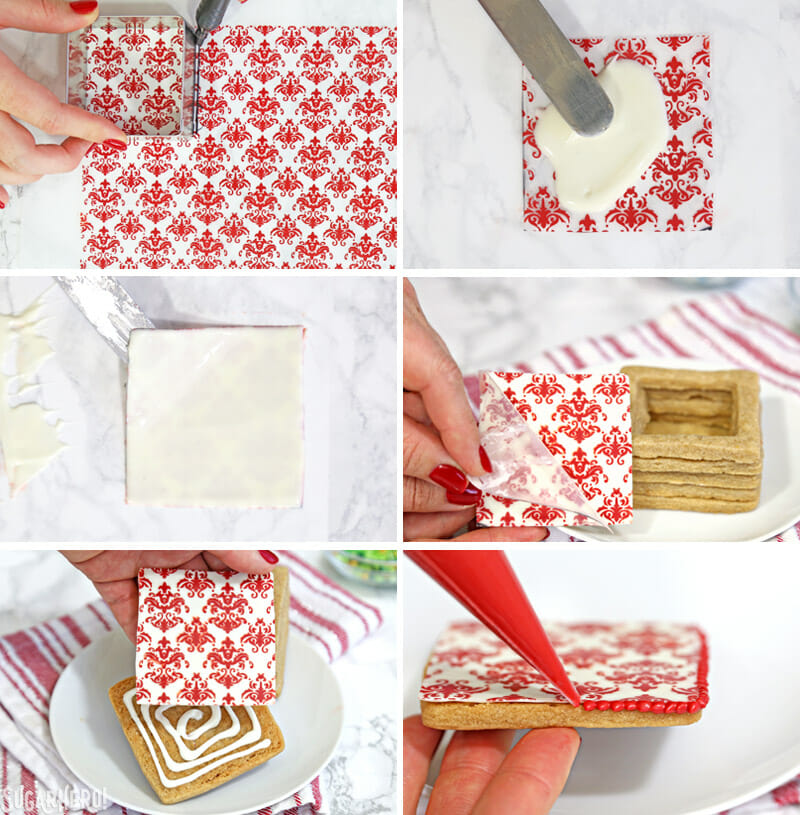 Christmas Present Cookie Boxes - tutorial showing how to use chocolate transfer sheets to decorate the top of cookie boxes | From SugarHero.com