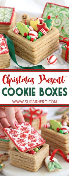 Christmas Present Cookie Boxes | From SugarHero.com