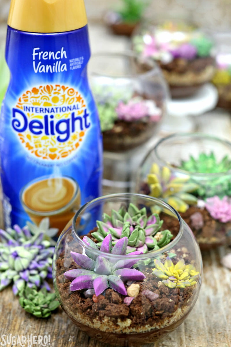 Edible Terrariums - group of edible terrariums with International Delight bottle behind | From SugarHero.com