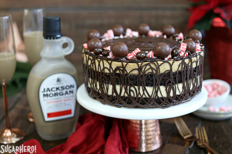 Peppermint Mocha Mousse Cake - mousse cake with Jackson Morgan Southern Cream in the background | From SugarHero.com