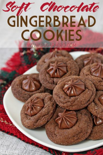 Soft Chocolate Gingerbread Cookies | From SugarHero.com