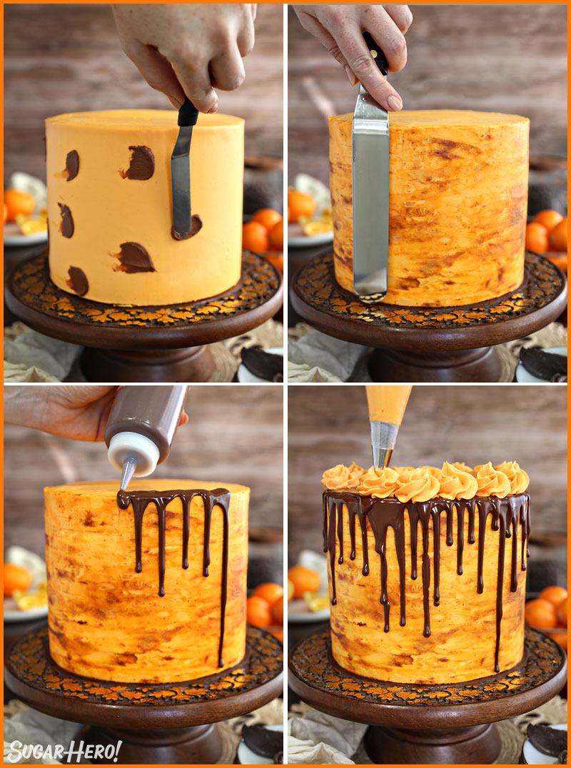 Chocolate Orange Cake - collage of how to frost and decorate a chocolate orange cake | From SugarHero.com