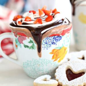 Strawberry Hot Chocolate   From SugarHero.com