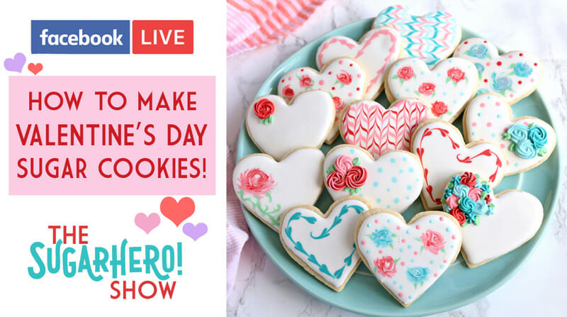 How to Make Valentine's Day Sugar Cookies - live tutorial video with Elizabeth from SugarHero!