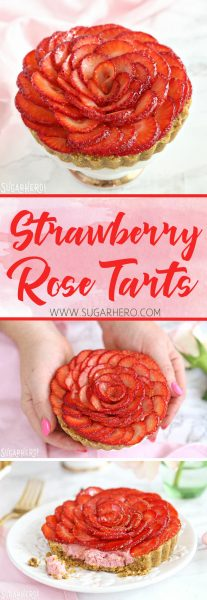 Strawberry Rose Tarts | From SugarHero.com