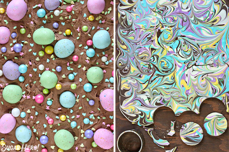 Malted Milk Chocolate Brownies - picture of the top of the brownies with frosting on the left, and swirled chocolate bark on the right | From SugarHero.com