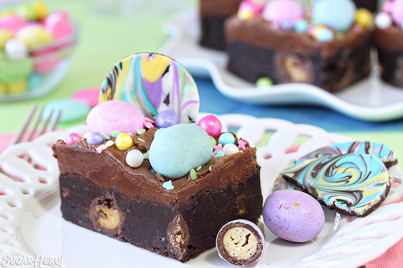 Malted Milk Chocolate Brownies - single brownie on a plate with fun, colorful toppings | From SugarHero.com