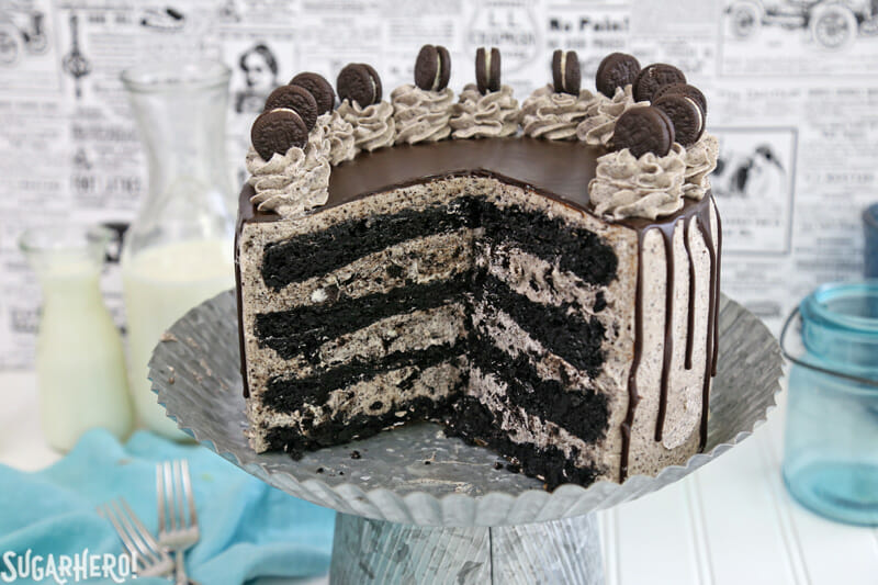 Cookies and Cream Cake - cake with slices removed, showing inner cake layers | From SugarHero.com