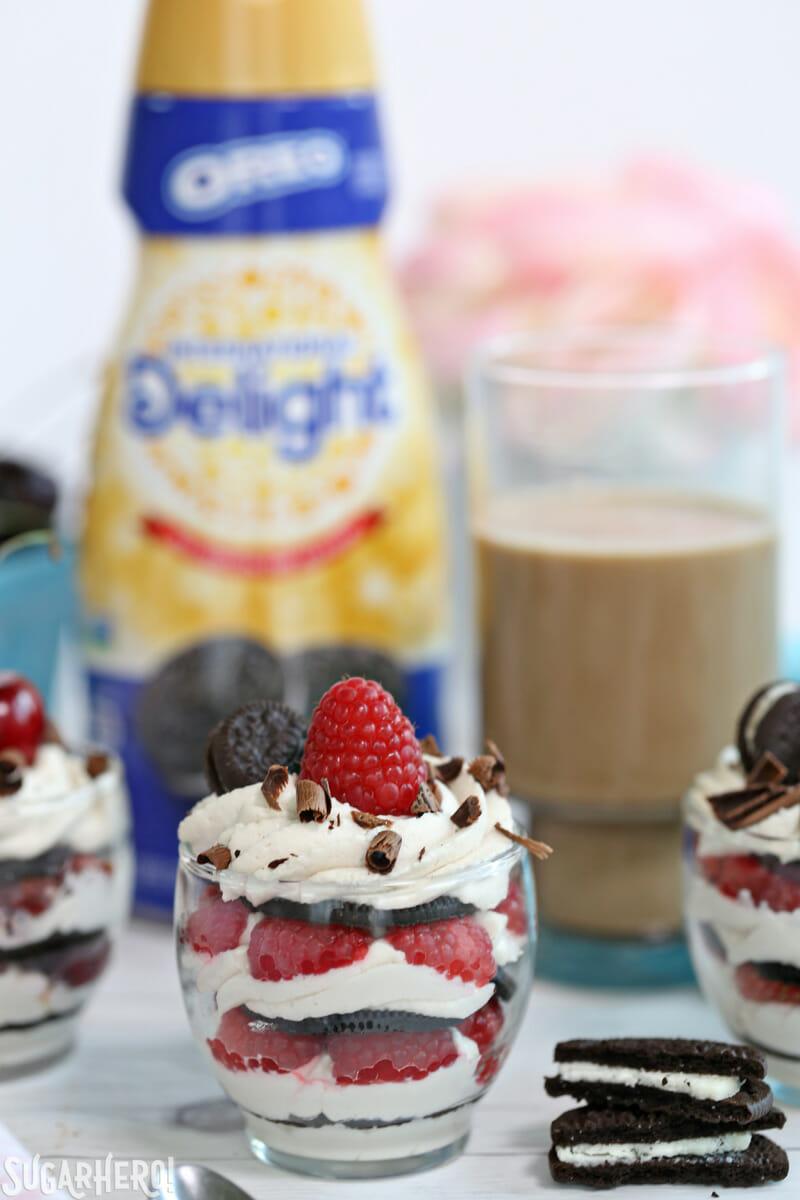 Mini Oreo Icebox Cakes - no-bake Oreo mini cakes with iced coffee | From SugarHero.com