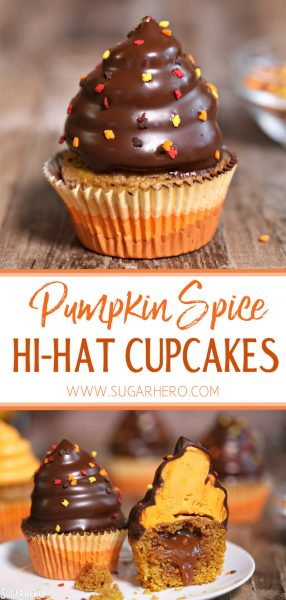 Pumpkin Spice Hi-Hat Cupcakes | From SugarHero.com