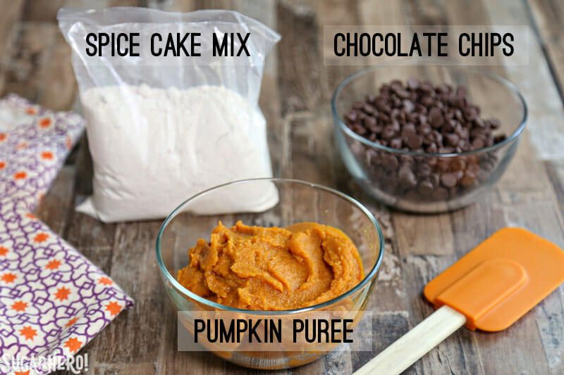 3-Ingredient Pumpkin Chocolate Chip Cookies - picture of three ingredients required to make pumpkin chocolate chip cookies | From SugarHero.com