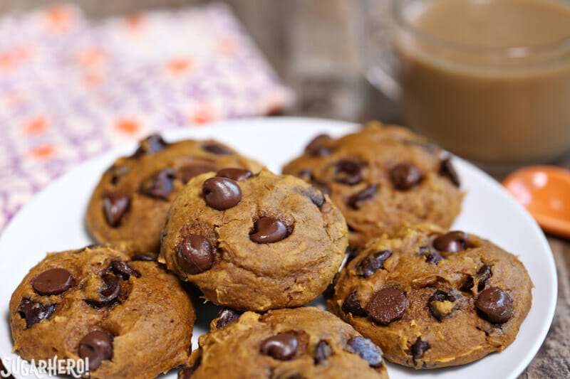 3-Ingredient Pumpkin Chocolate Chip Cookies - plate of pumpkin chocolate chip cookies | From SugarHero.com