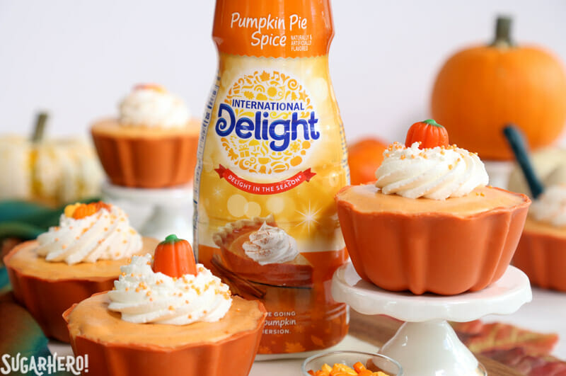 Pumpkin Spice Mousse Cups - mousse cups with pumpkin pie spice creamer bottle | From SugarHero.com