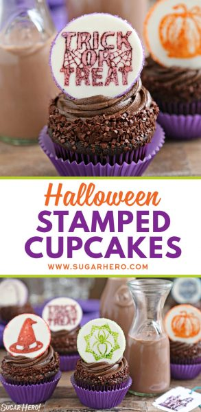 Stamped Halloween Cupcakes | From SugarHero.com