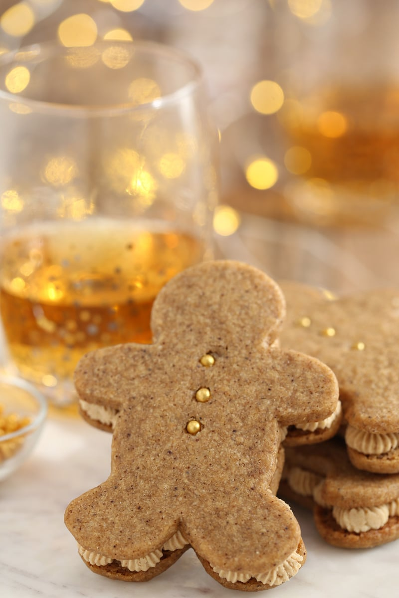 Gingerbread Men Sandwich Cookies | From SugarHero.com