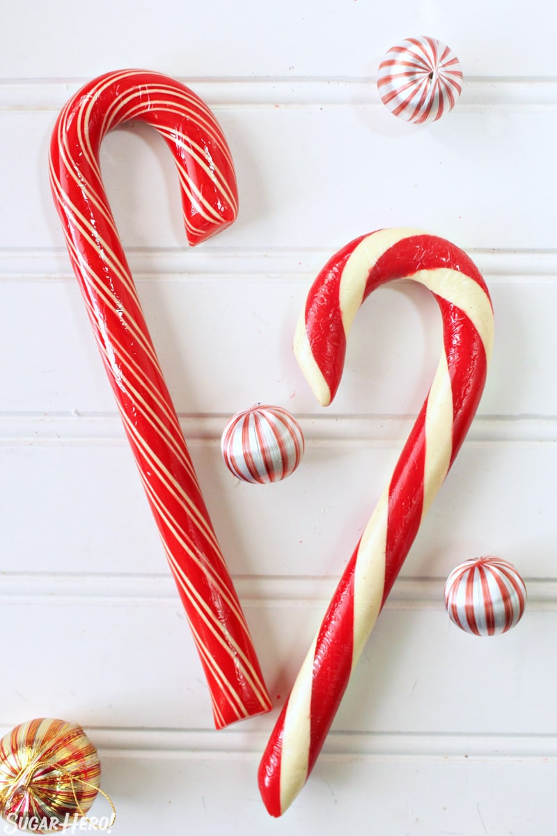 Candy Cane Chocolate Cake - two jumbo candy canes | From SugarHero.com