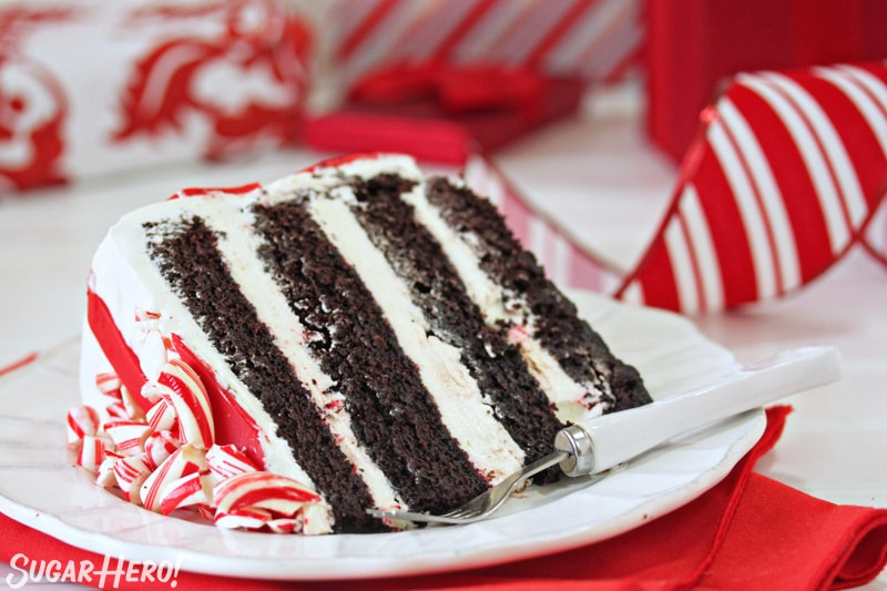 Candy Cane Chocolate Cake - close-up on slice of cake on a white plate | From SugarHero.com