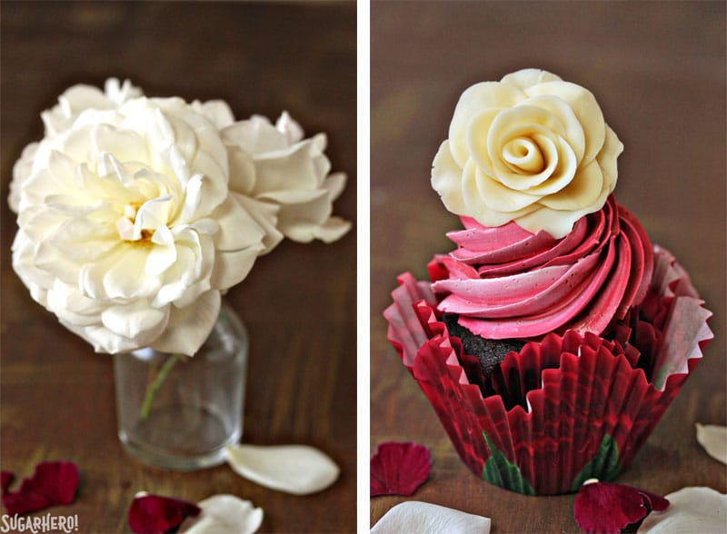 Chocolate Rose Cupcakes - A collage of two photos. The left photo is a white rose displayed in a jar, the right photo is a single cupcake displayed with a chocolate rose on top. | From SugarHero.com