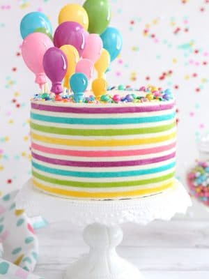 Striped Buttercream Balloon Cake | From SugarHero.com