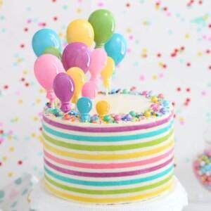 Striped Buttercream Balloon Cake | From SugarHero.com