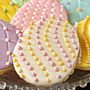 Easter Egg Sugar Cookies on a glass plate