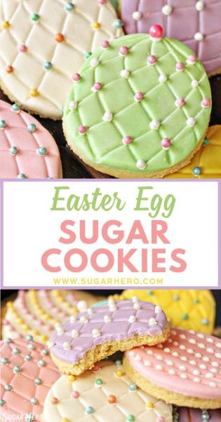 Easter Egg Sugar Cookies made with colorful sugar pearls