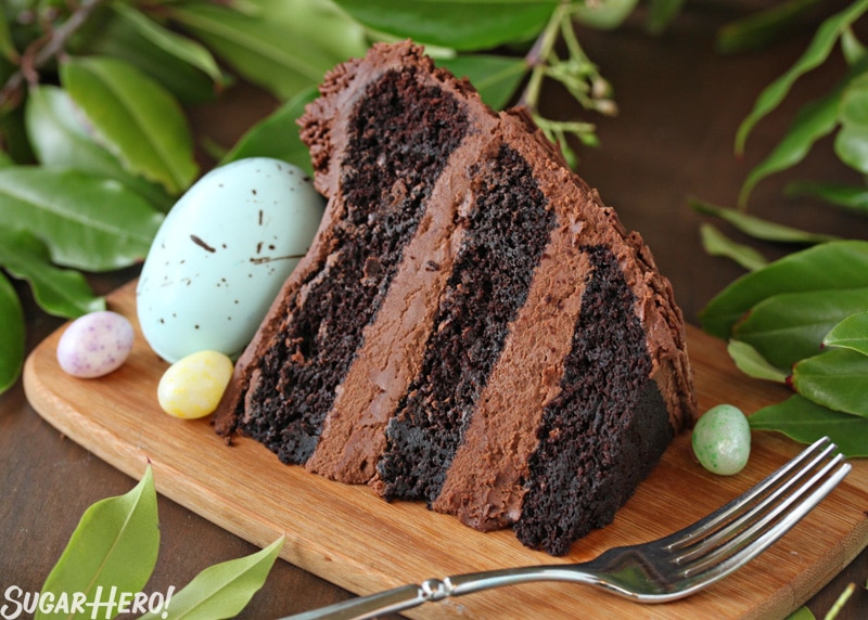 Easter Nest Cake - A slice of the nest cake. | From SugarHero.com
