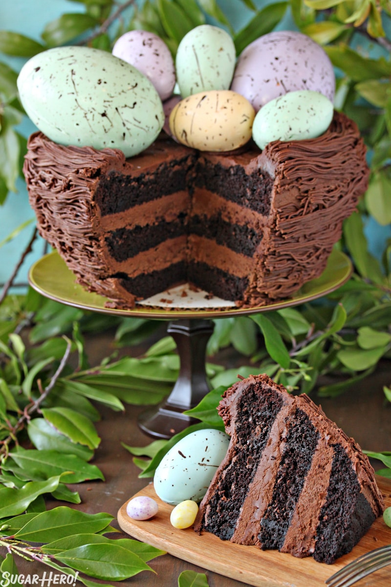 Easter Nest Cake - A picture of the cake with a slice taken out of it. | From SugarHero.com