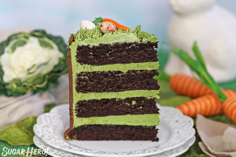 A single slice of Chocolate Easter Bunny Cake, with green frosting in between each chocolate cake layer