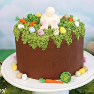 Chocolate Easter Bunny Cake | From SugarHero.com