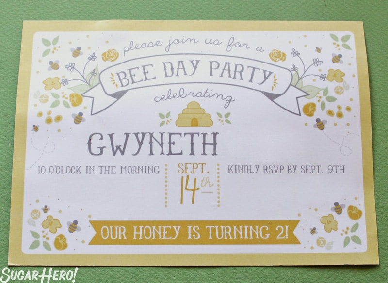 Bumblebee Cake - A shot of the birthday invitation. | From SugarHero.com