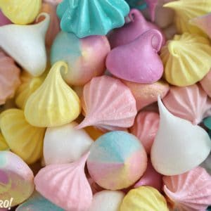Colorful meringue cookies of assorted shapes and sizes