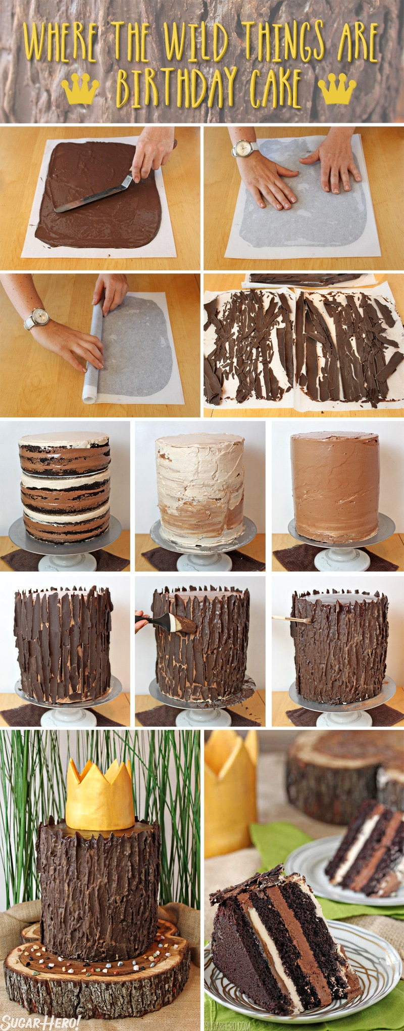 Where the Wild Things Are Birthday Cake - Collage of how to make the chocolate bark and assemble. | From SugarHero.com