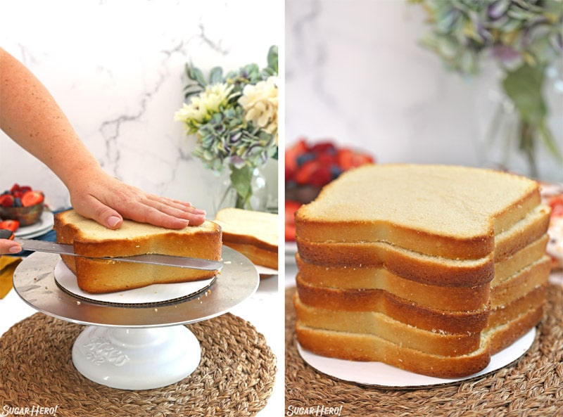 Collage showing slicing the butter cake and a tall stack of cake layers