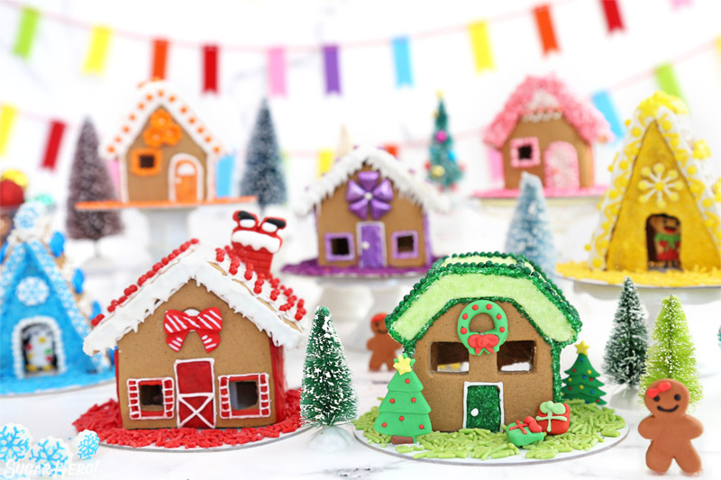 Mini gingerbread houses with a rainbow color scheme