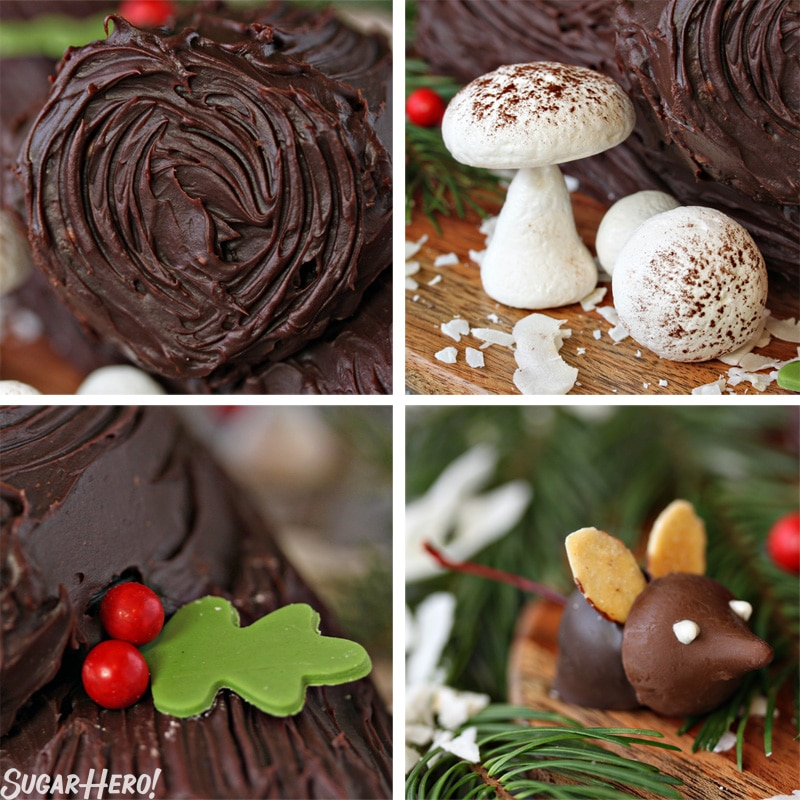 Peanut Butter Cup Yule Log - A collage of the decorations for the yule log. | From SugarHero.com